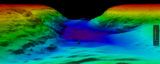 Bathymetric map of the ocean.