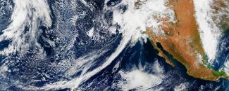 Satellite image of an atmospheric river