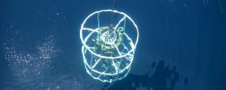 Photo of a CTD device in the Gulf of Mexico