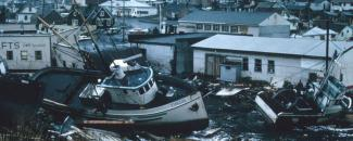 Great Alaska Earthquake destruction in Kodiak, Alaska