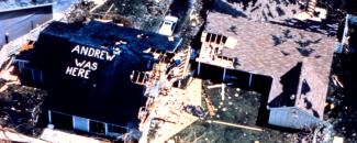 Photo of damage from Hurricane Andrew in 1992