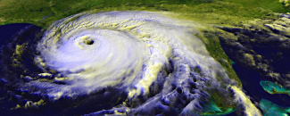 Satellite image of Hurricane Ivan making landfall on September 16, 2004