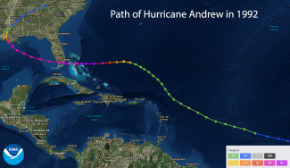 Map of the path of Hurricane Andrew in 1992