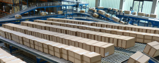 Picture of boxes on conveyor belts