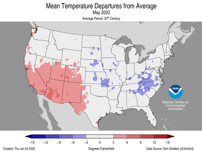 May 2020 US Average Temperature Departures from Average