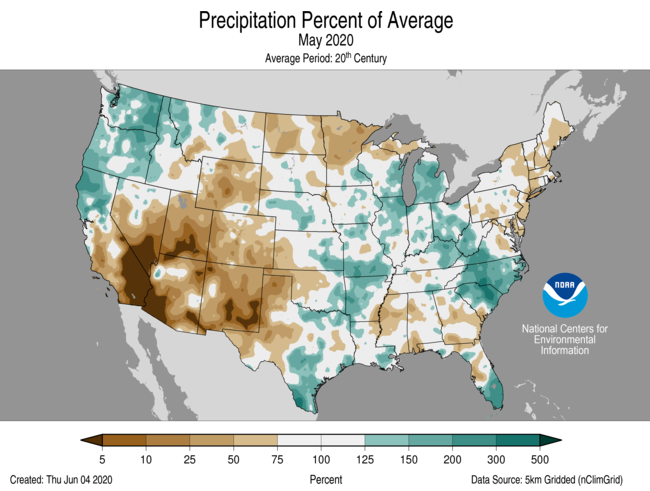 May 2020 US Precipitation Percent of Average Map