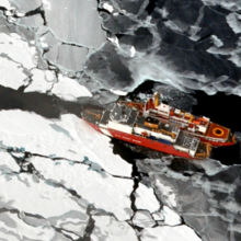 Image of boat in sea ice by NSIDC 2009
