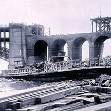 Photo of Eads Bridge after the Great St. Louis Tornado on May 27, 1896