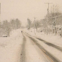 Photo of snow accumulation on a road in western North Carolina in March 1993 courtesy of the National Weather Service