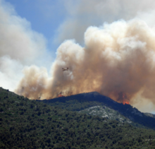Picture of wildfire, plane over mountain. Courtesy of Pixabay.com.