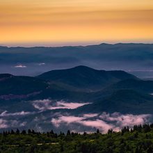 Photo of a sunrise over the North Carolina mountains