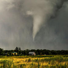Photo of a tornado about to touch down in central Minnesota