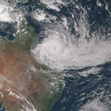 Satellite image of tropical cyclone Debbie near Australia on March 27, 2017