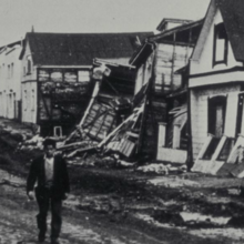 Photo of Valdivia Chile earthquake damage in 1960