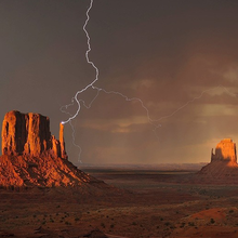 Photo of lightning over Monument Valley in Arizona