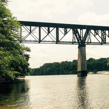 Photo of a rail bridge over the Mississippi River