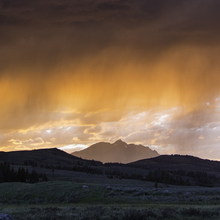 Photo of a sunset thunderstorm in Yellowstone National Park