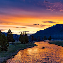 Photo of a sunset at Yellowstone National Park