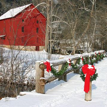 Photo of Christmas snow over a bridge