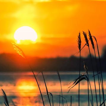 Photo of a lake landscape at sunset