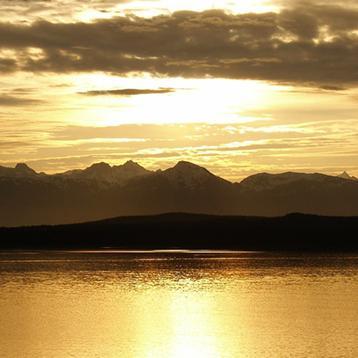 Photo of a sunset over Glacier National Park in Alaska