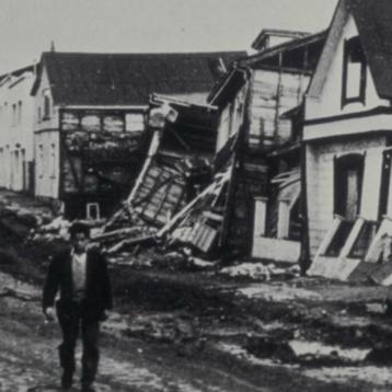 Photo of Valdivia Chile earthquake damage in 1960