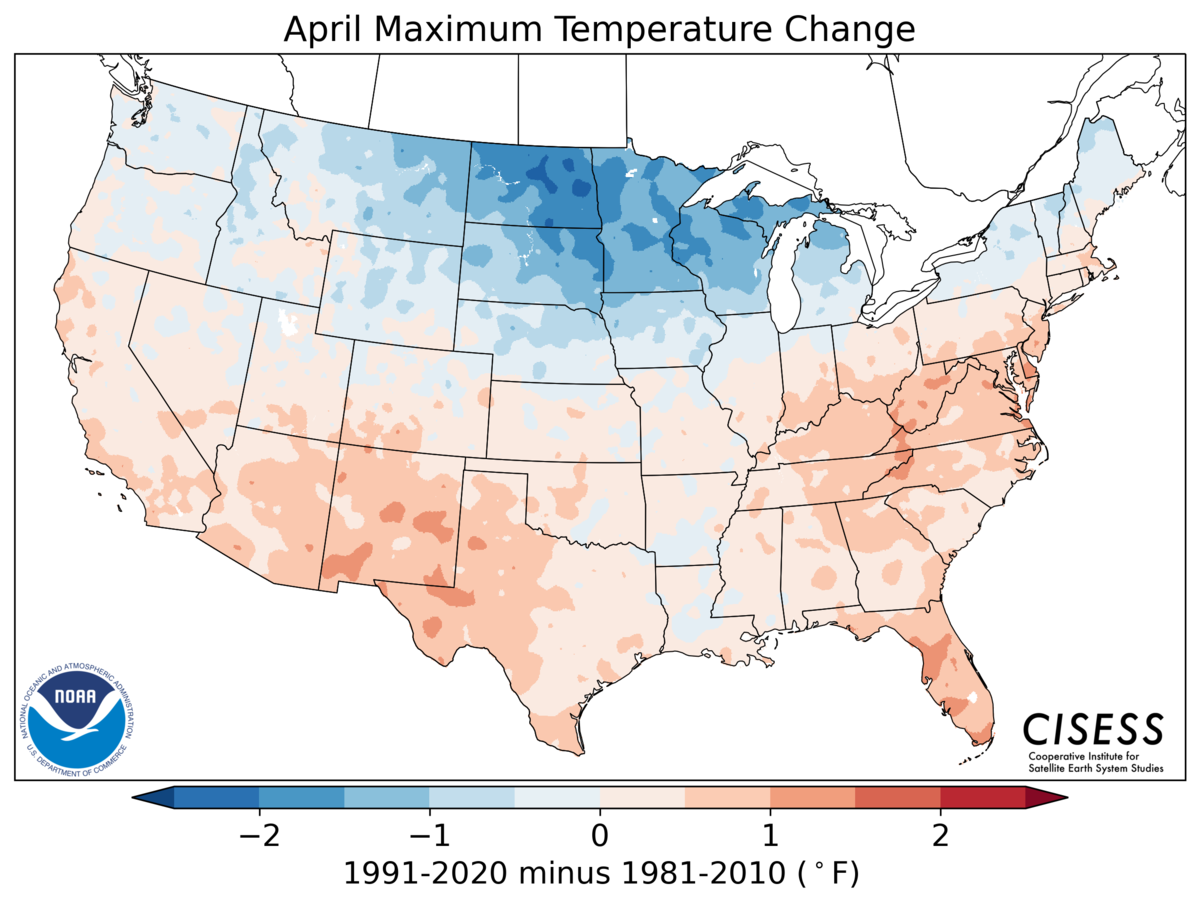 A map of the contiguous United States showing the pattern of April average temperature change for 1991–2020 Normals minus the 1981–2010 Normals. Colors range from blue for cooler normals (-1.5 Deg F) through lighter blue and pink near zero difference to red for warmer normals (+1.5 Deg F). A large swath of the northern U.S. has cooler maximum temperature normals in the new period, especially in the North-Central U.S. where normals are more than 2.0 Deg F cooler in the Dakotas. Most of the southern U.S. is warmer in the latter period, especially in the Southwest and parts of the Southeast and Mid-Atlantic regions which warmed more than 1.0 Deg F.