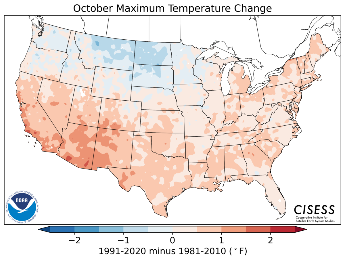 A map of the contiguous United States showing the pattern of October average temperature change for 1991–2020 Normals minus the 1981–2010 Normals. Colors range from light blue for cooler normals (-1.0 Deg F) through lighter blue and pink near zero difference to red for warmer normals (+2.0 Deg F). The persistent cooler normals in the northern U.S. are shifted to the west over more of Montana and the Dakotas. The southern two-thirds of the U.S. and Great Lakes to Northeast are all warmer in the new set of normals, especially in the Southwest (southern CA, AZ, NM).
