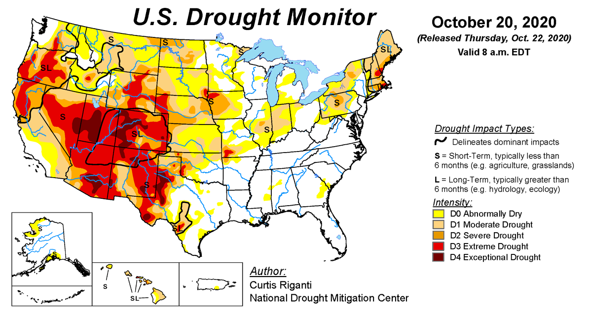 Map of U.S. drought conditions for October 20, 2020
