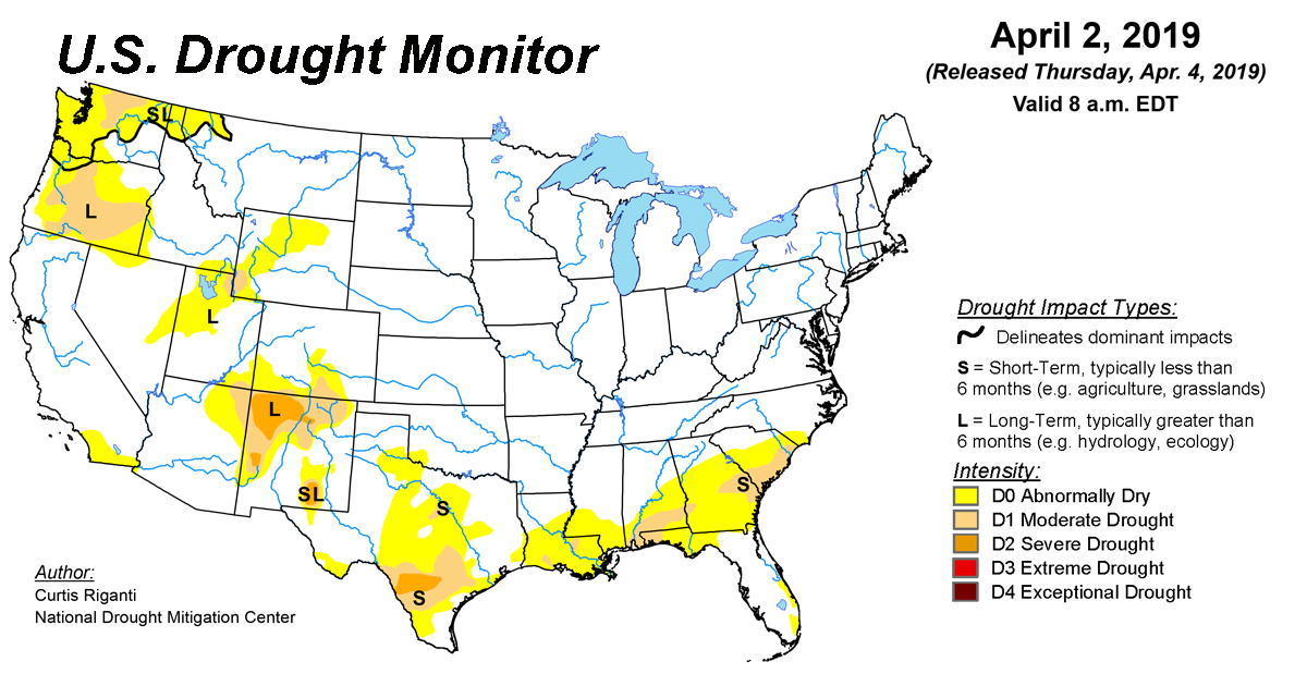 Map of U.S. drought conditions for April 2, 2019