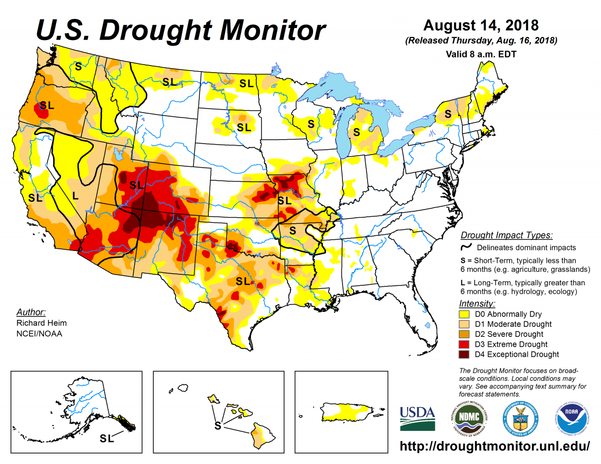 Map of U.S. drought conditions for August 14, 2018