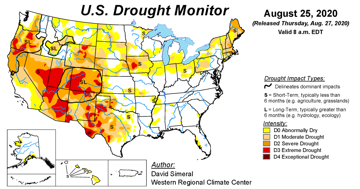 Map of U.S. drought conditions for August 25, 2020
