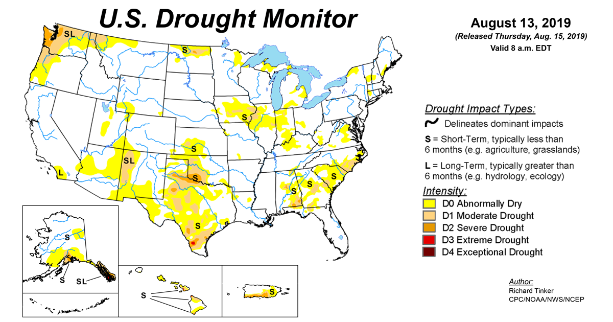 Map of U.S. drought conditions for August 13, 2019