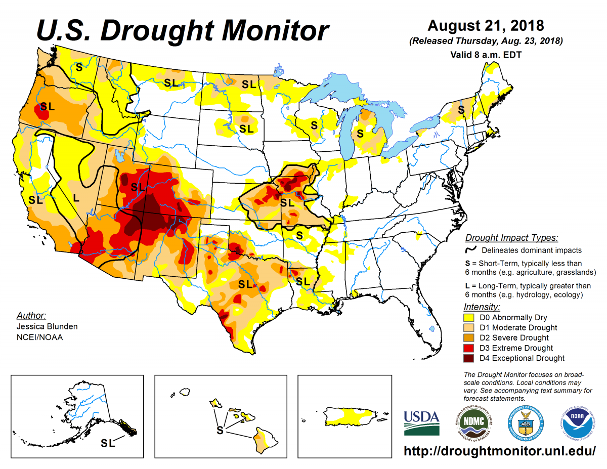 Map of U.S. drought conditions for August 21, 2018