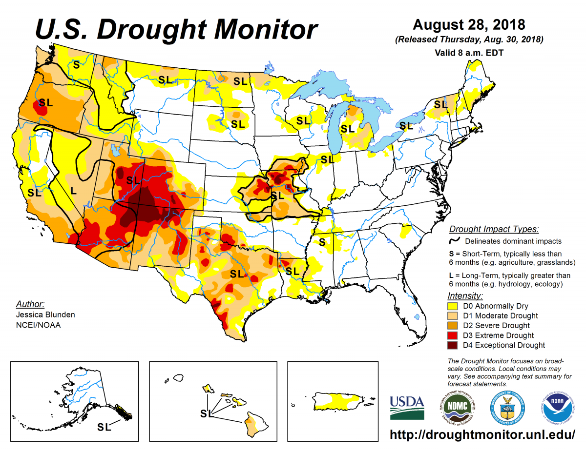 Map of U.S. drought conditions for August 28, 2018