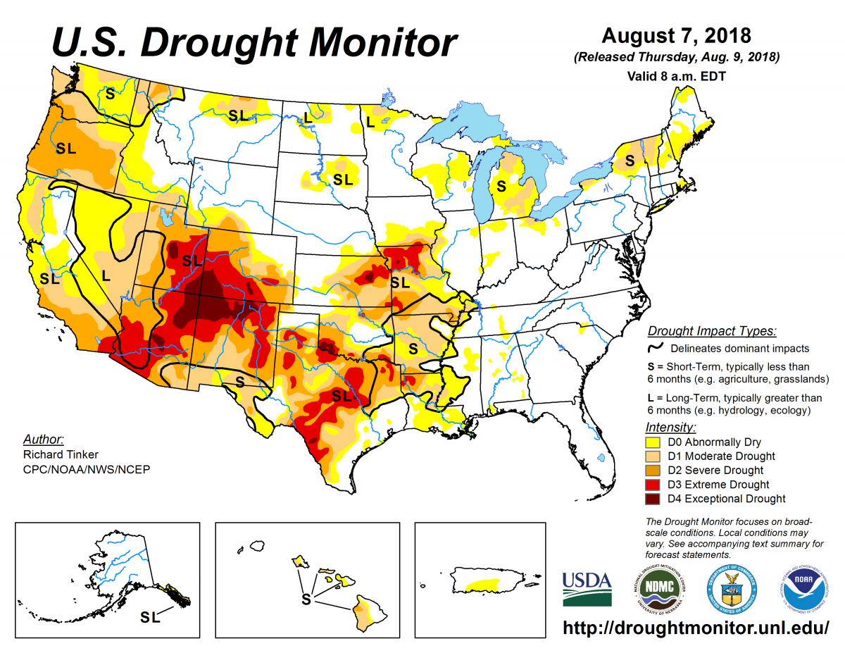 Map of U.S. drought conditions for August 7, 2018