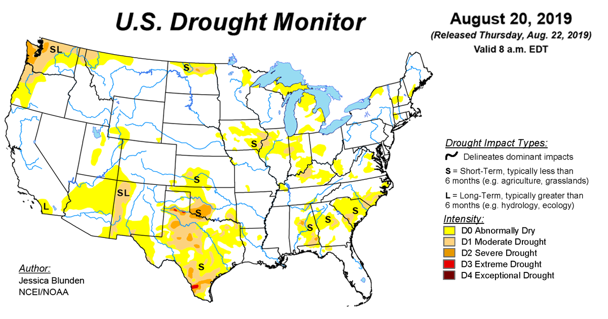 Map of U.S. drought conditions for August 20, 2019