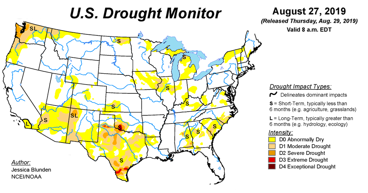 Map of U.S. drought conditions for August 27, 2019