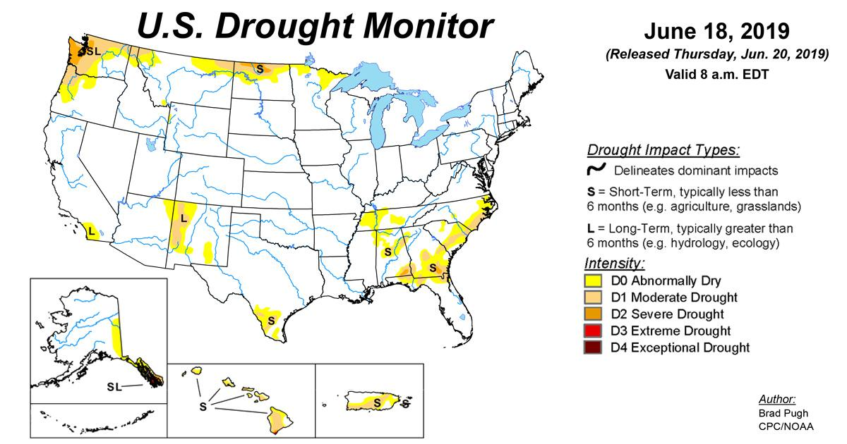 Map of U.S. drought conditions for June 18, 2019