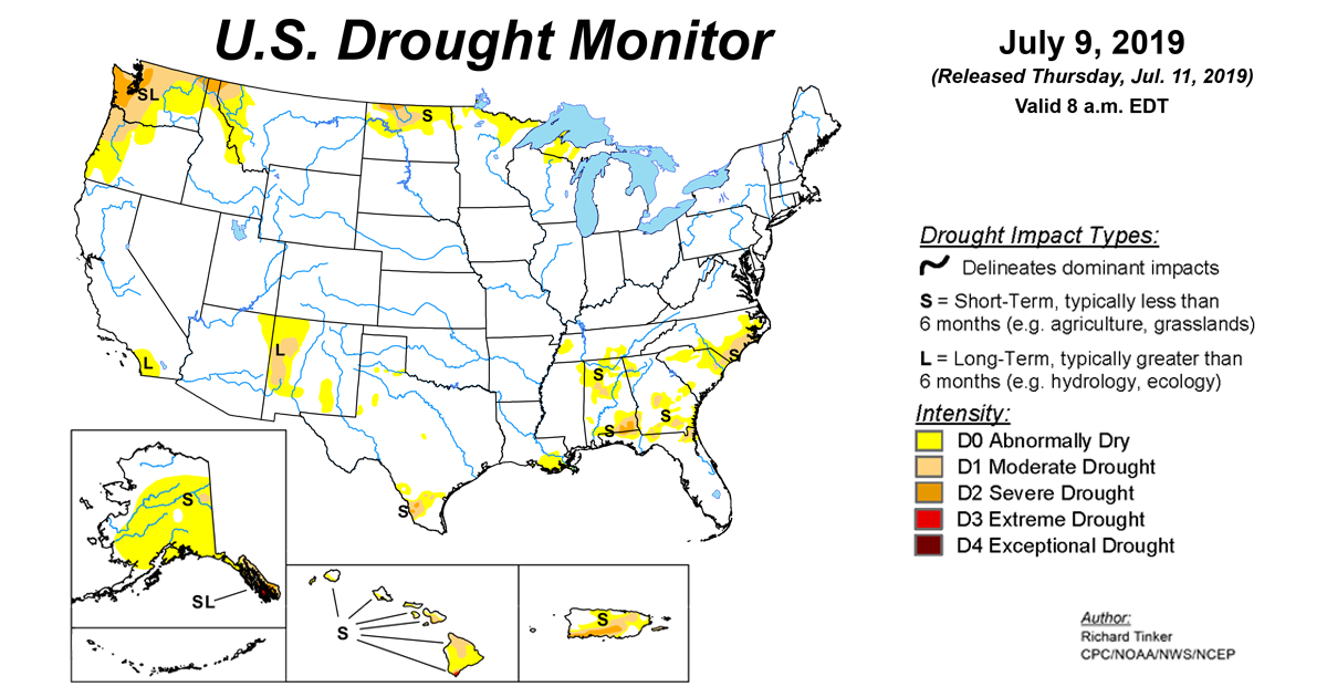 Map of U.S. drought conditions for July 9, 2019