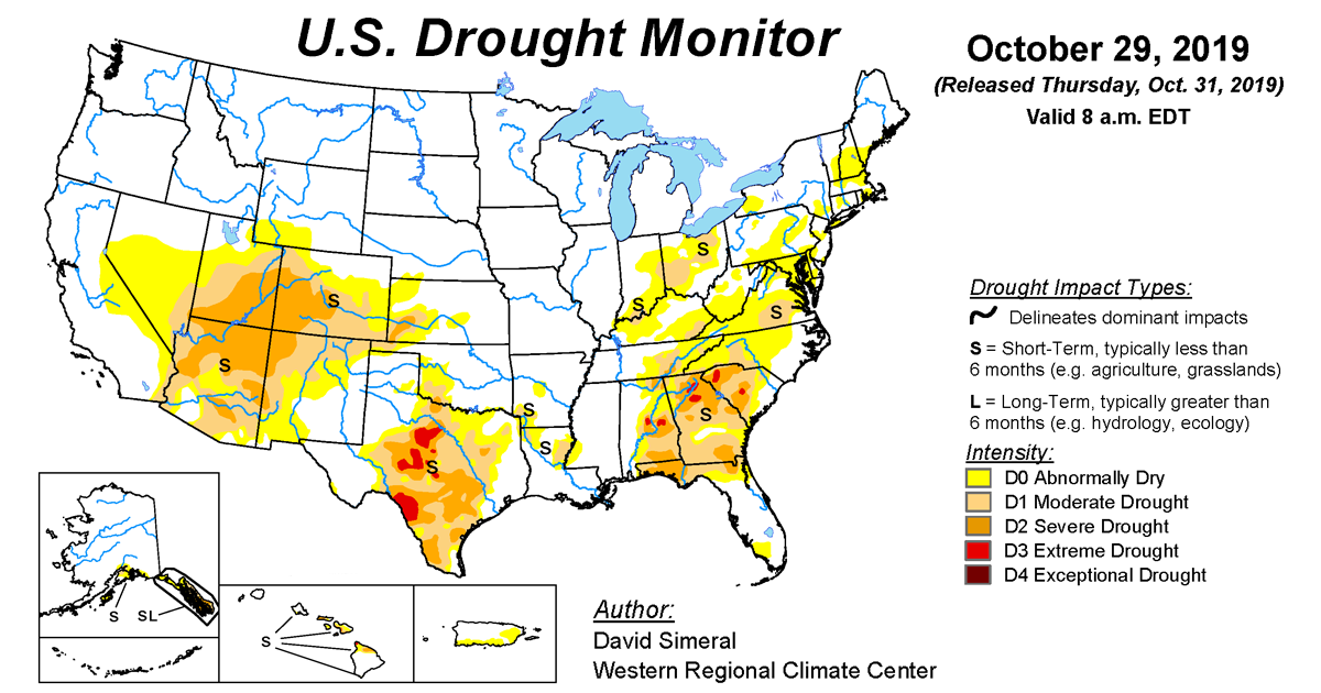 Map of U.S. drought conditions for October 29, 2019