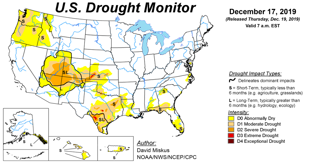 Map of U.S. drought conditions for December 17, 2019