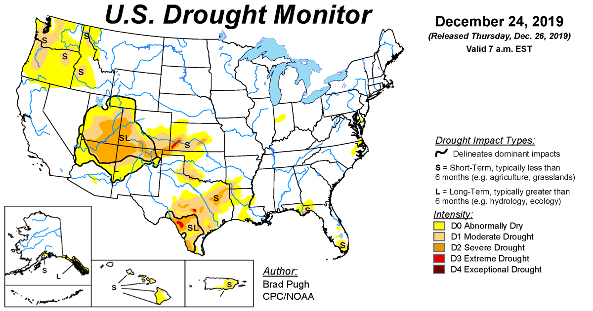 Map of U.S. drought conditions for December 24, 2019