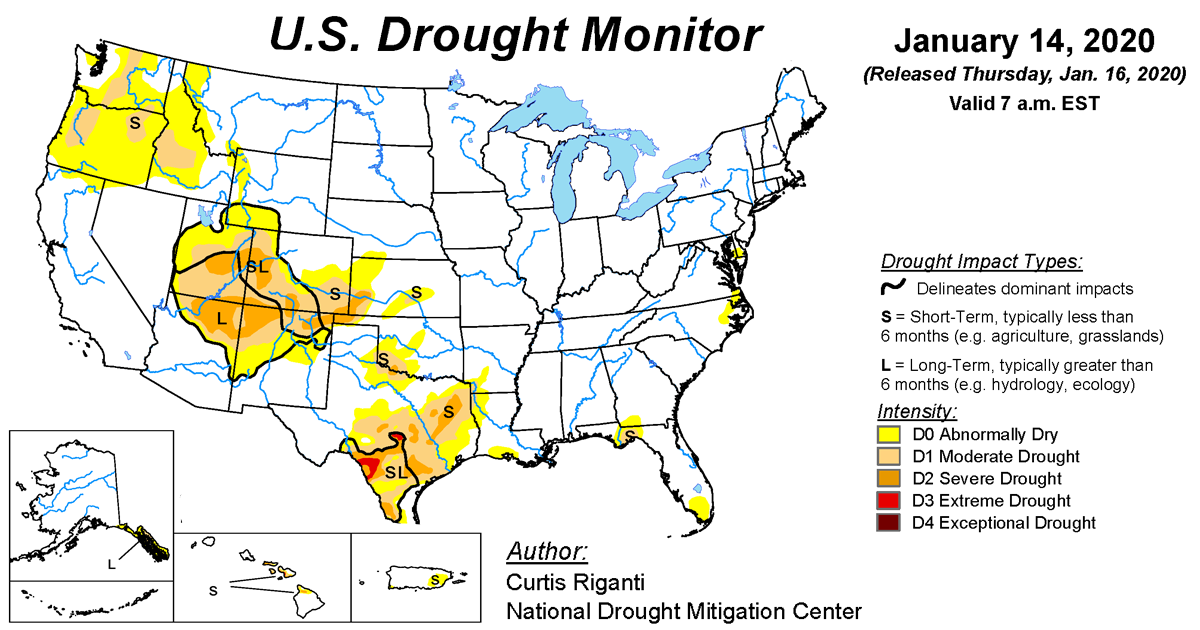 Map of U.S. drought conditions for January 14, 2020