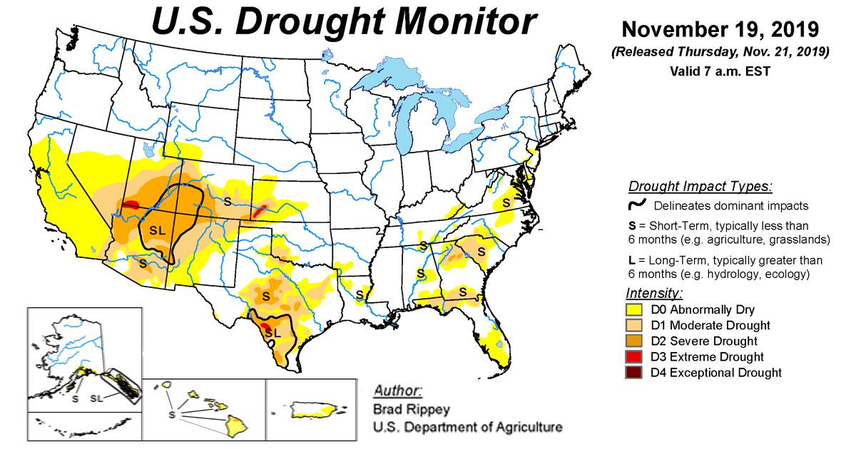Map of U.S. drought conditions for November 19, 2019