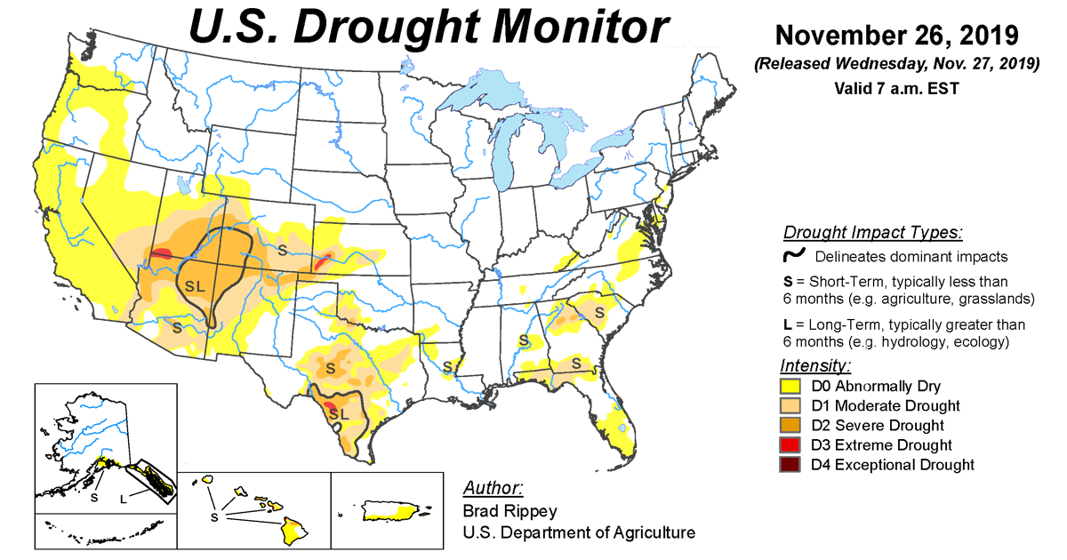 Map of U.S. drought conditions for November 26, 2019