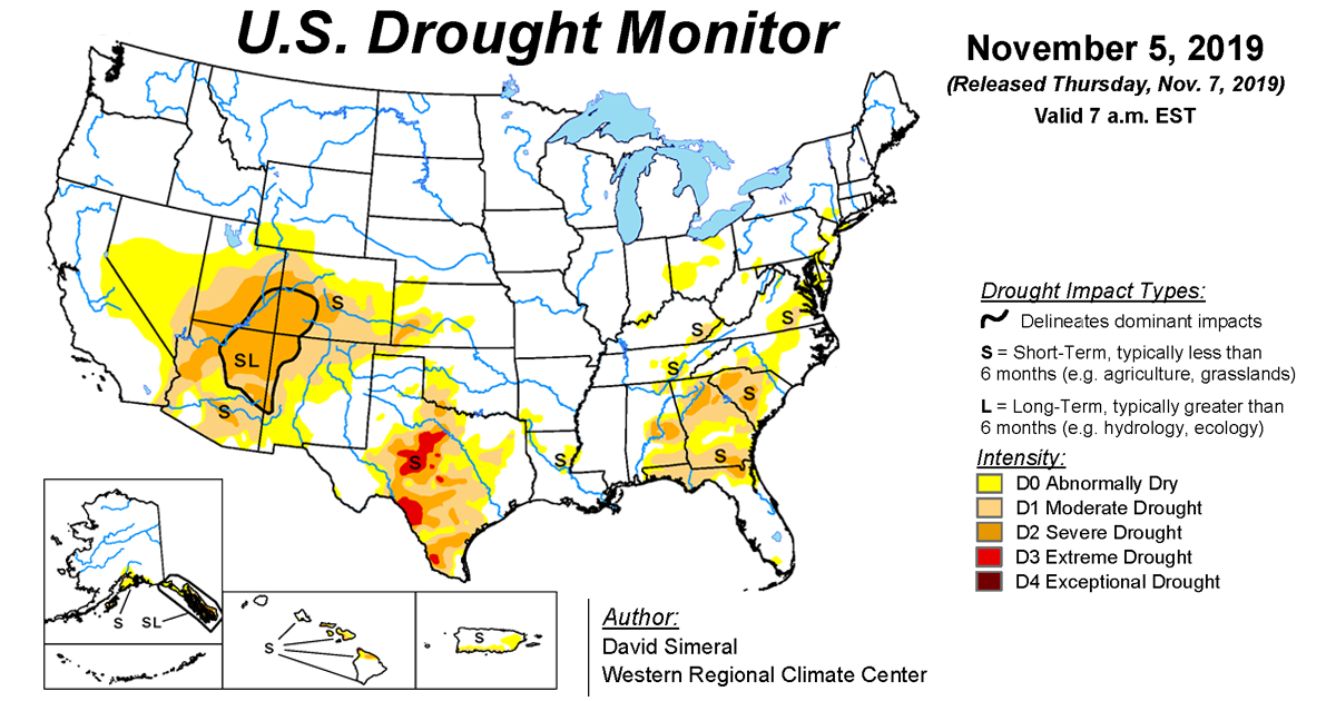 Map of U.S. drought conditions for November 5, 2019