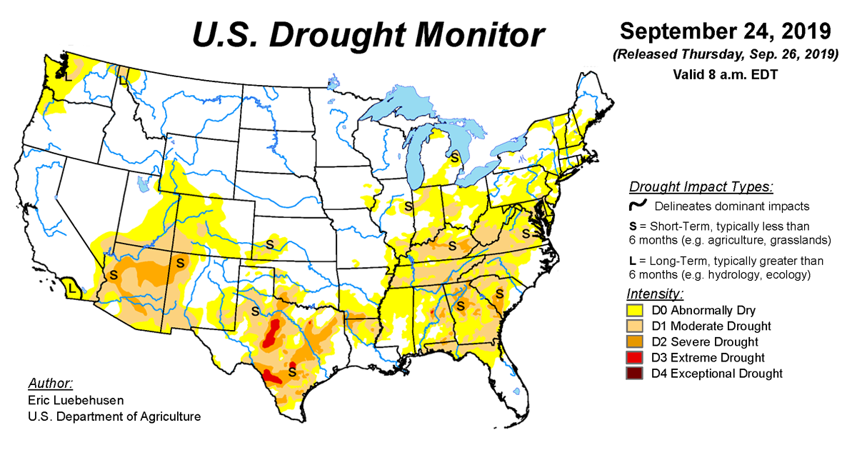 Map of U.S. drought conditions for September 24, 2019
