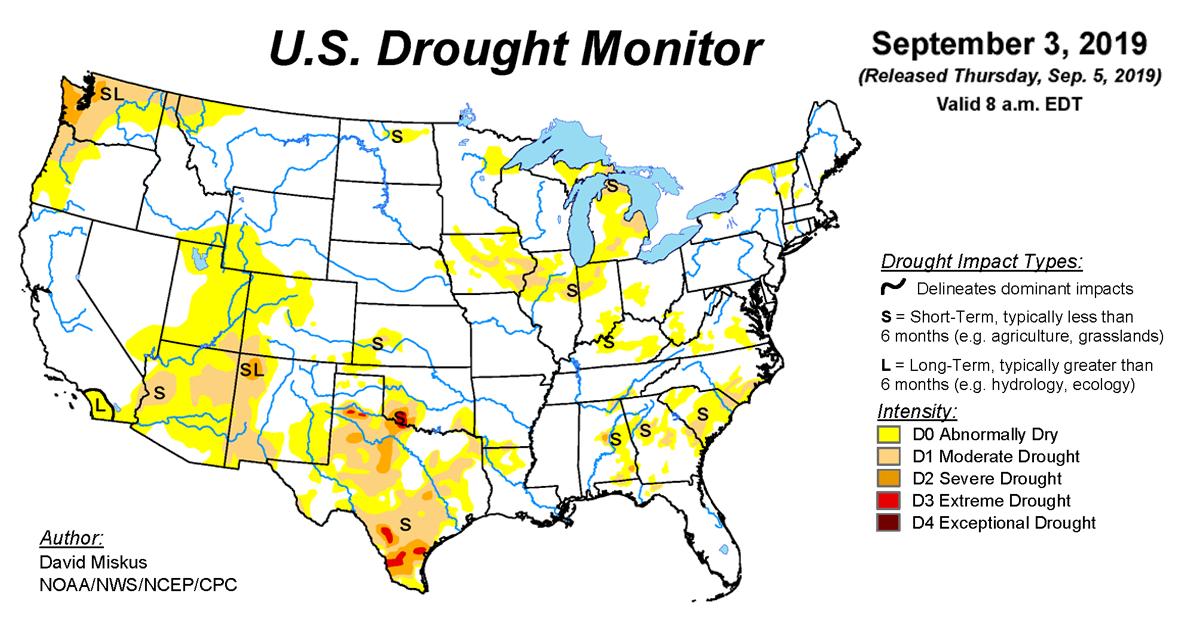 Map of U.S. drought conditions for September 3, 2019