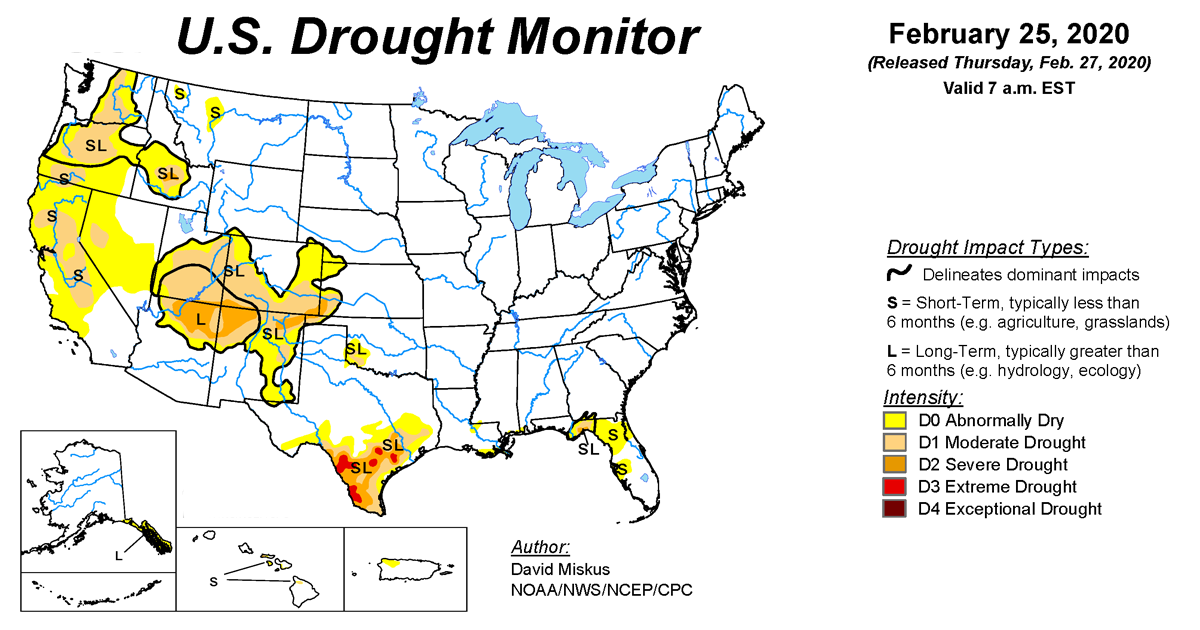 Map of U.S. drought conditions for February 25, 2020